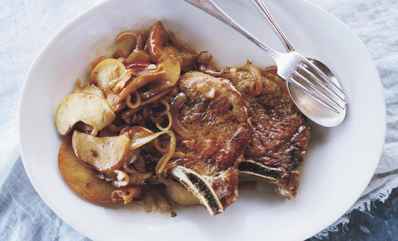 Lucinda Scala Quinn Pork Chops with Apples Recipe | D'Artagnan