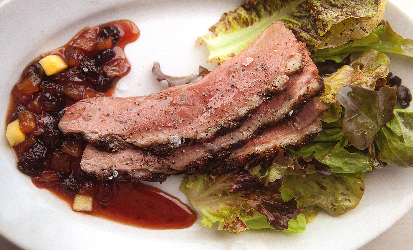 Norman Van Aken's Grilled Duck Breasts with Raisin-Pineapple Sauce Recipe | D'Artagnan