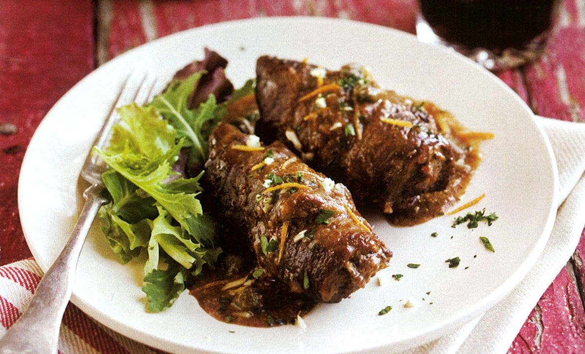 Paula Wolfert's Beef Paupiettes with Tomatoes & Capers Recipe   D'Artagnan