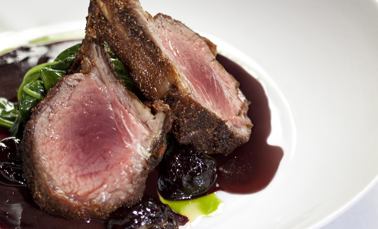 Jason Tilmann's Coriander Crusted Lamb Rack with Foie Gras Stuffed Prune & Port Wine Reduction Recipe | D'Artagnan