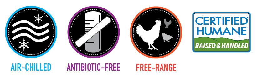 Air Chilled, Antibiotic Free, Free-Range, Certified Humane