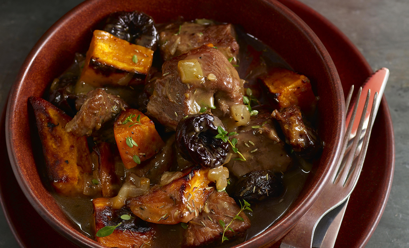 Pam Anderson's Pork Stew with Sweet Potatoes & Prunes Recipe | D'Artagnan