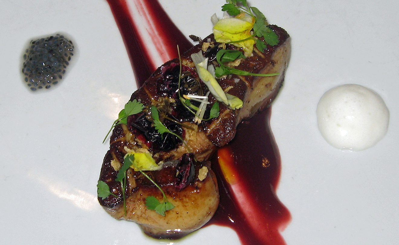Ken Oringer's Seared Foie Gras with Hibiscus Purée & Concord Grape Salad Recipe | D'Artagnan