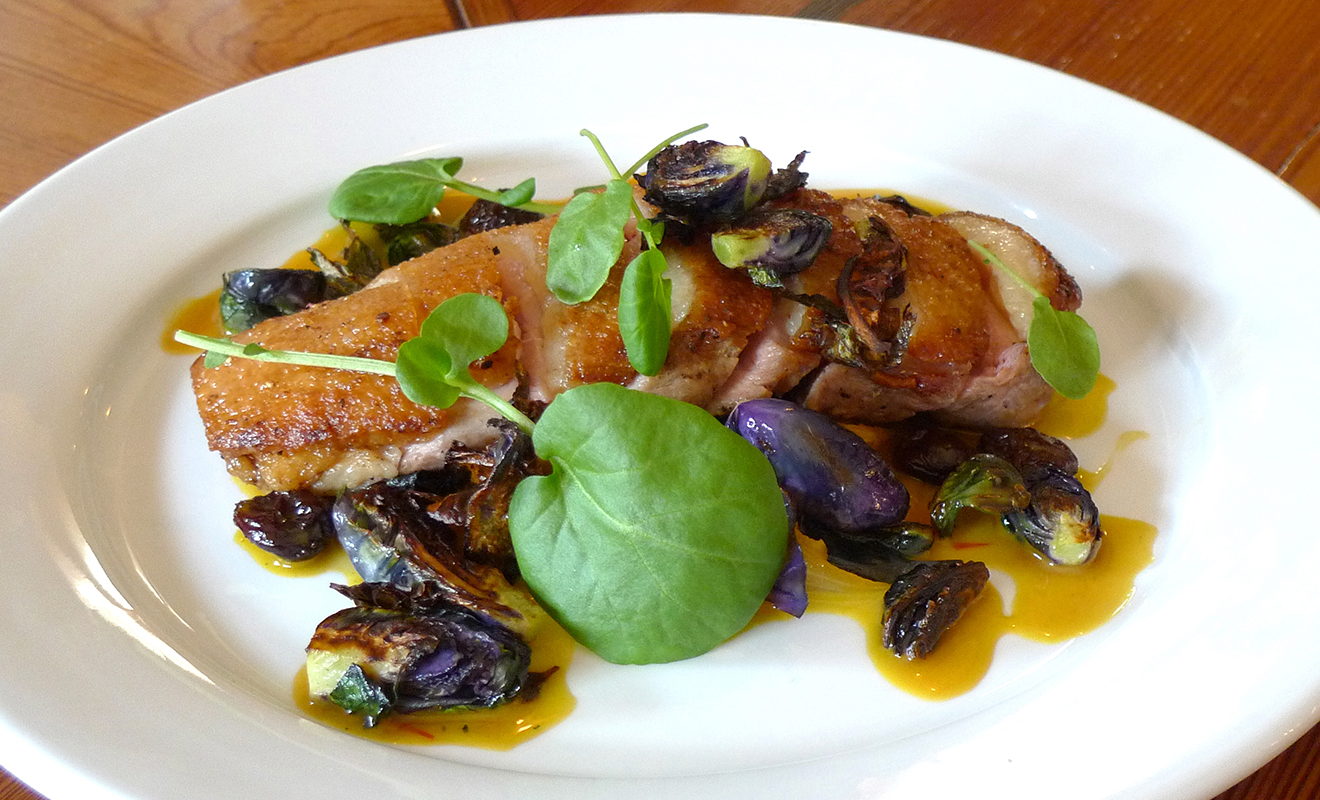 Nate Smith's Duck Breast with Saffron Onions, Flame Raisins & Purple Brussels Recipe | D'Artagnan