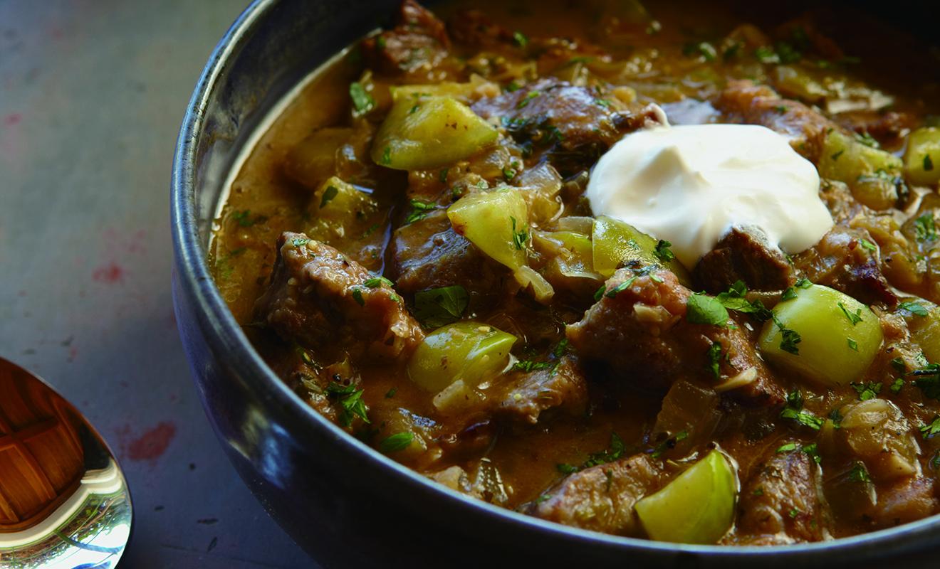 Cat Cora's Tomatillo Lamb Stew Recipe | D'Artagnan
