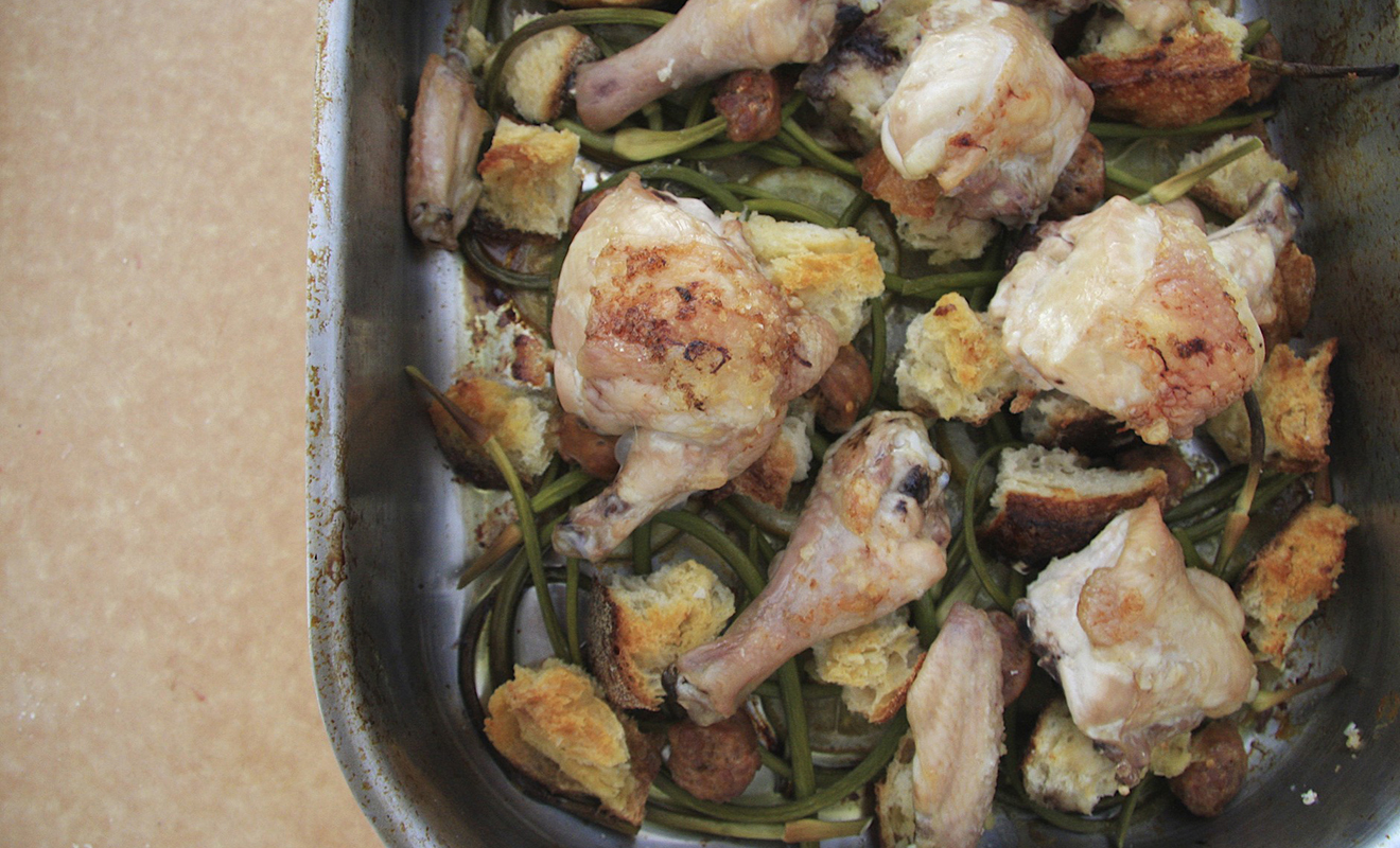 Alissa Dicker Schrieber's Roasted Chicken with Garlic Scapes, Croutons and Lemon Recipe | D'Artagnan