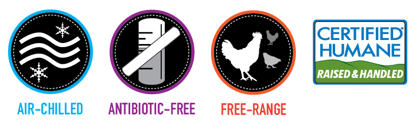 Air Chilled, Antibiotic Free, Free-Range, Certified Humane